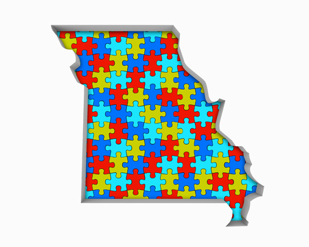 Missouri MO Puzzle Pieces Map Working Together 3d Illustration