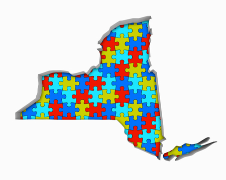 New York NY Puzzle Pieces Map Working Together 3d Illustration Stock Photo