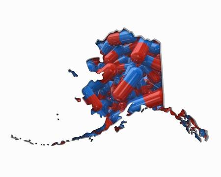 Alaska AK Pills Drugs Health Care Insurance Map 3d Illustration Stock Photo