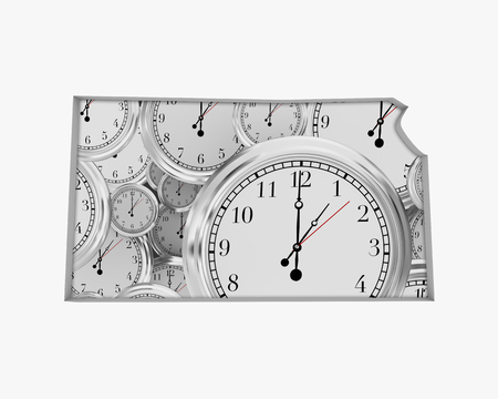 Kansas KS Clock Time Passing Forward Future 3d Illustration