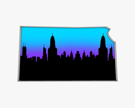 Kansas KS Skyline City Metropolitan Area Nightlife 3d Illustration