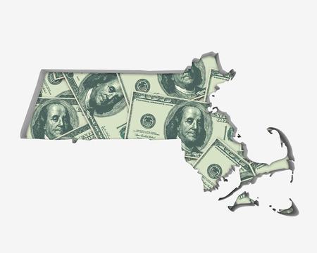Massachusetts MA Money Map Cash Economy Dollars 3d Illustration