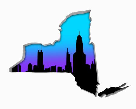 New York NY Skyline City Metropolitan Area Nightlife 3d Illustration 写真素材