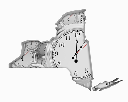 New York NY Clock Time Passing Forward Future 3d Illustration Stock Photo