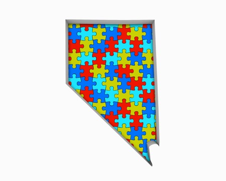 Nevada NV Puzzle Pieces Map Working Together 3d Illustration