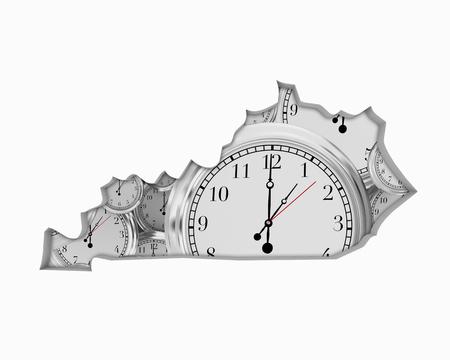 Kentucky KY Clock Time Passing Forward Future 3d Illustration Stock Photo