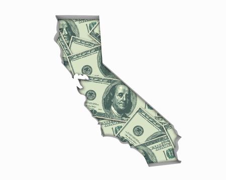 California CA Money Map Cash Economy Dollars 3d Illustration