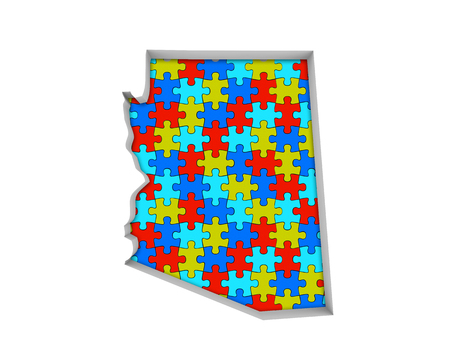 Arizona AZ Puzzle Pieces Map Working Together 3d Illustration