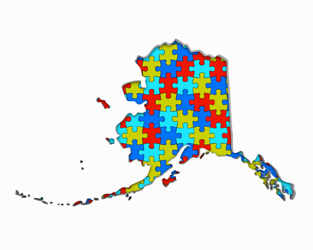 Alaska AK Puzzle Pieces Map Working Together 3d Illustration 写真素材