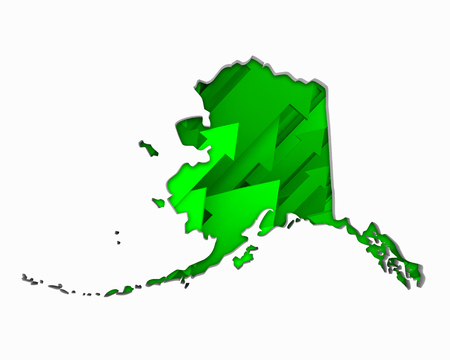 Alaska AK Arrows Map Growth Increase On Rise 3d Illustration