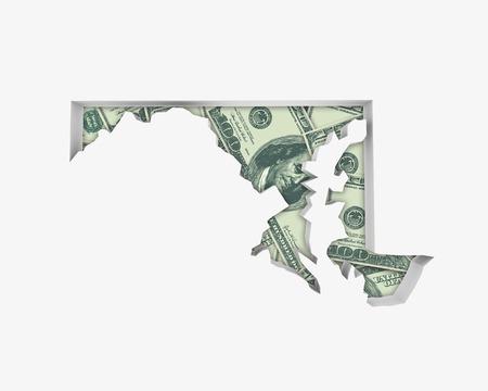 Maryland MD Money Map Cash Economy Dollars 3d Illustration