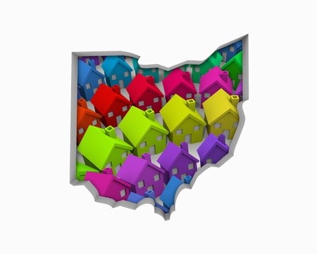 Ohio OH Homes Homes Map New Real Estate Development 3d Illustration