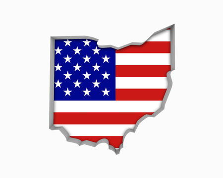 Ohio OH USA Flag Stars Stripes Map 3d Illustration