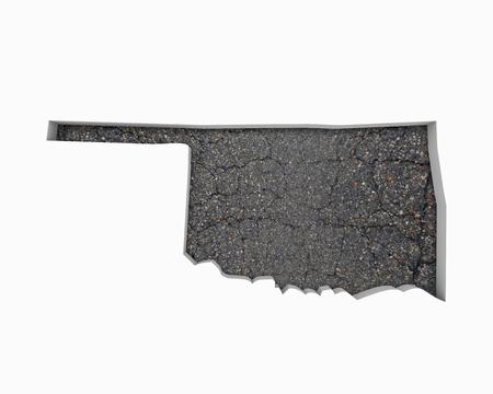 Oklahoma OK Road Map Pavement Construction Infrastructure 3d Illustration