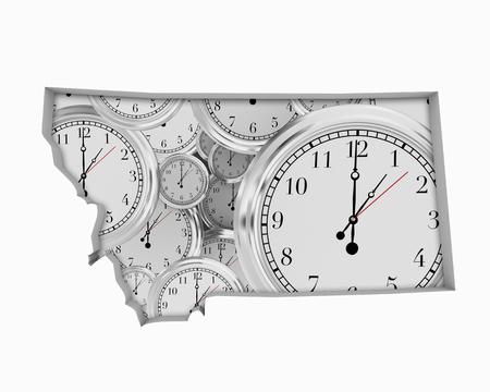 Montana MT Clock Time Passing Forward Future 3d Illustration
