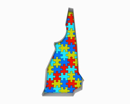 New hampshire pièces de puzzle puzzle travail ensemble illustration 3d Banque d'images - 99371569