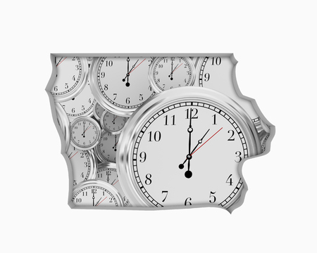 Iowa IA Clock Time Passing Forward Future 3d Illustration