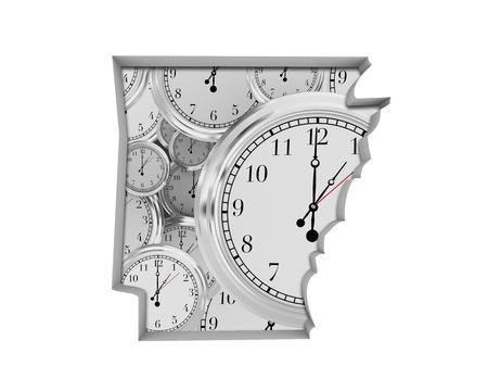 Arkansas AR Clock Time Passing Forward Future 3d Illustration