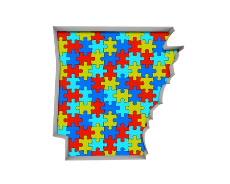 Arkansas AR Puzzle Pieces Map Working Together 3d Illustration 写真素材