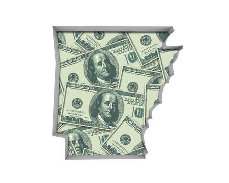Arkansas AR Money Map Cash Economy Dollars 3d Illustration