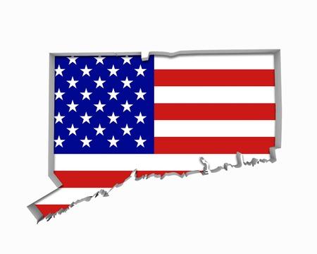 Connecticut CT USA Flag Stars Stripes Map 3d Illustration