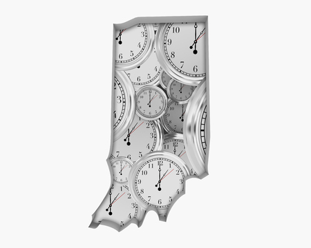 Indiana IN Clock Time Passing Forward Future 3d Illustration Stock Photo