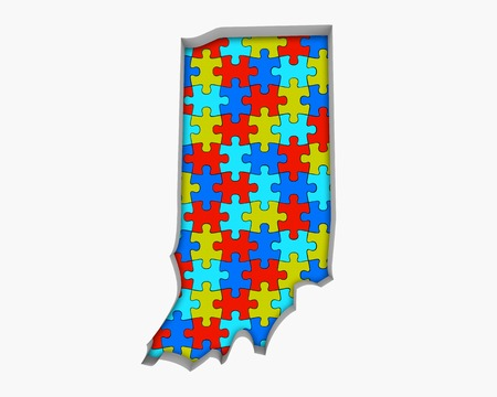 Indiana IN Puzzle Pieces Map Working Together 3d Illustration
