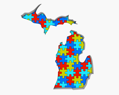 Michigan MI Puzzle Pieces Map Working Together 3d Illustration