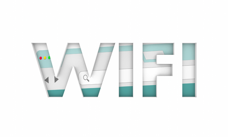 Wifi Internet Access Free Online Point Service Word 3d Illustration Stock fotó
