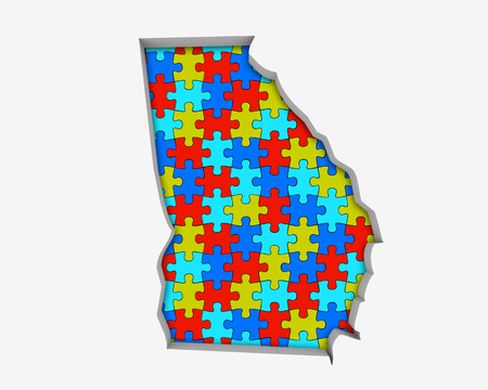 Georgia GA Puzzle Pieces Map Working Together 3d Illustration