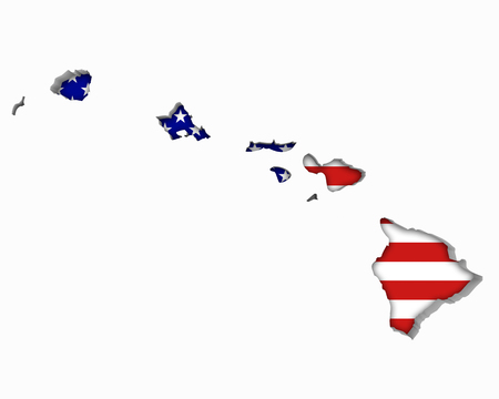 Hawaii HI USA Flag Stars Stripes Map 3d Illustration
