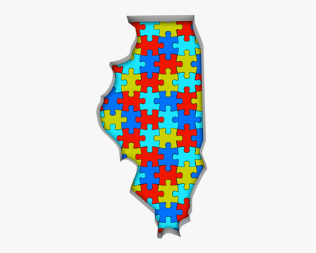 Illinois IL Puzzle Pieces Map Working Together 3d Illustration 写真素材