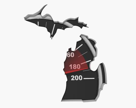 Michigan MI Speedometer Map Fast Speed Competition Race 3d Illustration