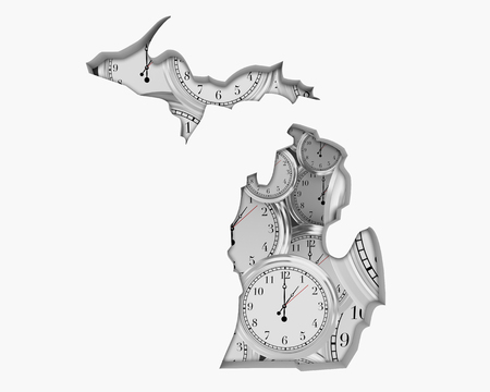 Michigan MI Clock Time Passing Forward Future 3d Illustration