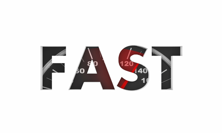 Fast Word Speedometer Race Speedy Competition 3d Illustration