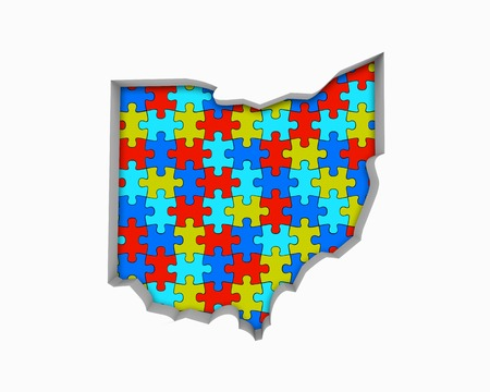 Ohio OH Puzzle Pieces Map Working Together 3d Illustration