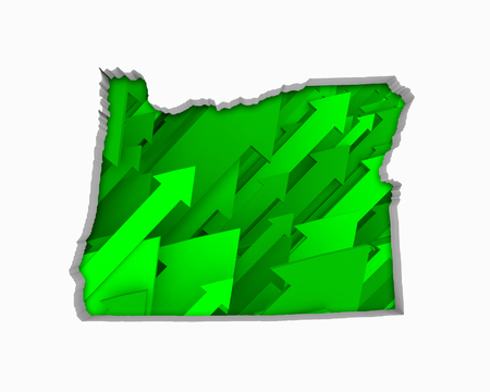 Oregon OR Arrows Map Growth Increase On Rise 3d Illustration