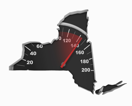 New York NY Speedometer Map Fast Speed Competition Race 3d Illustration