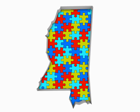 Mississippi MS Puzzle Pieces Map Working Together 3d Illustration 写真素材 - 99371634