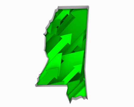 Mississippi MS Arrows Map Growth Increase On Rise 3d Illustration