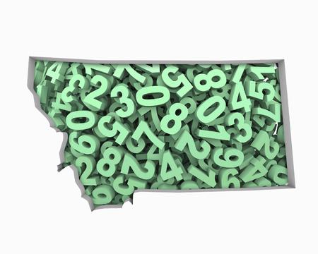 Montana MT Map Numbers Math Figures Economy 3d Illustration