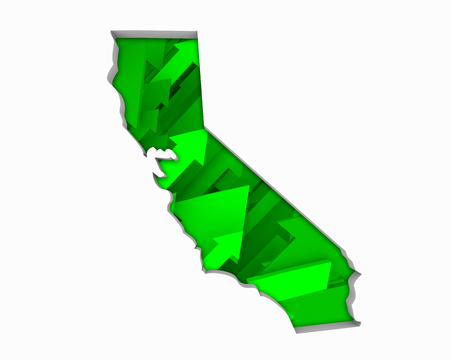 California CA Arrows Map Growth Increase On Rise 3d Illustration