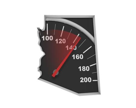 Arizona AZ Speedometer Map Fast Speed Competition Race 3d Illustration Stok Fotoğraf