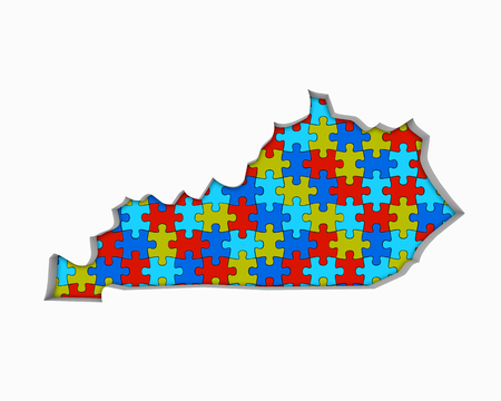 Kentucky KY Puzzle Pieces Map Working Together 3d Illustration
