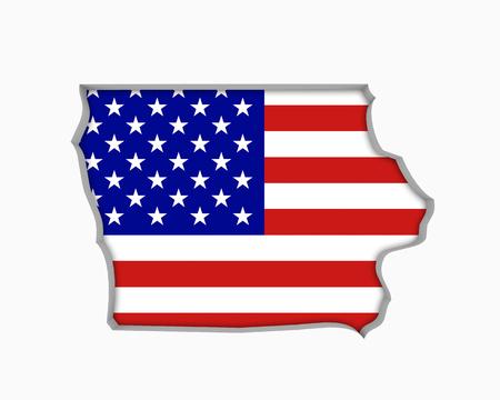 Iowa IA USA Flag Stars Stripes Map 3d Illustration