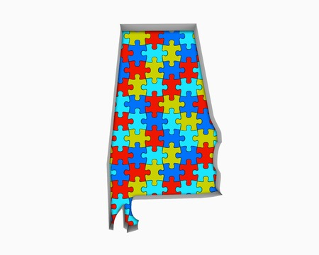 Alabama AL Puzzle Pieces Map Working Together 3d Illustration