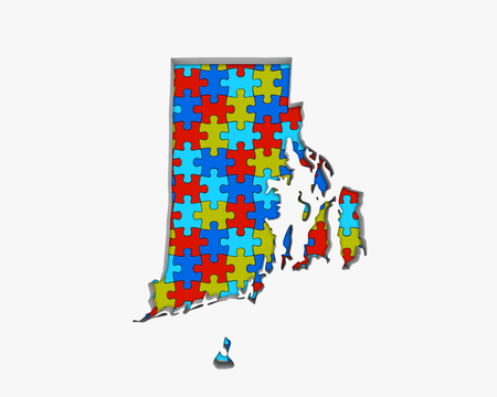 Rhode Island RI Puzzle Pieces Map Working Together 3d Illustration 写真素材 - 99377399