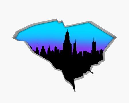 South Carolina SC Skyline City Metropolitan Area Nightlife 3d Illustration
