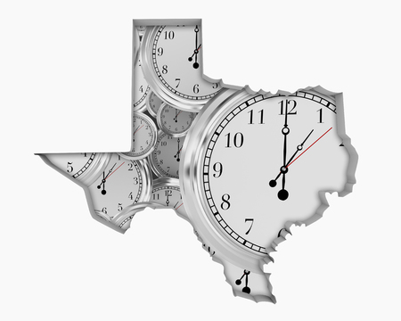 Texas TX Clock Time Passing Forward Future 3d Illustration Stock fotó - 99377415