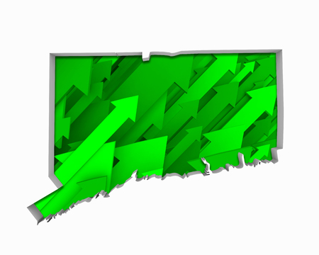 Connecticut CT Arrows Map Growth Increase On Rise 3d Illustration Stock Photo